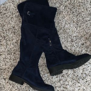 Navy blues over the knee boots